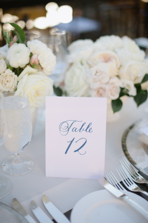 Blue Calligraphy Table Number
