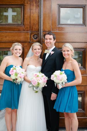 Blue Chiffon Bridesmaids Dresses