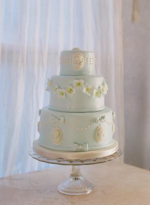 Blue Wedding Cake with Cameos