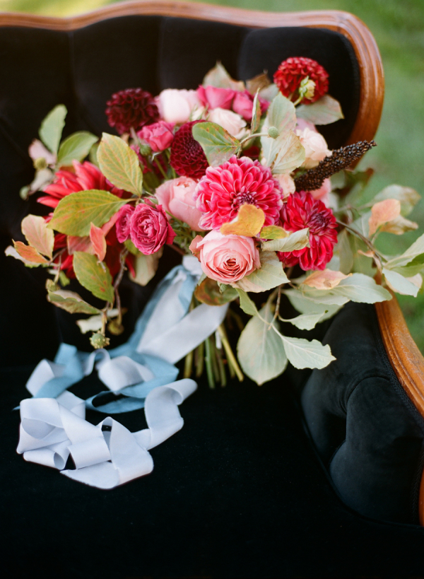 Bouquet Handtied with Blue Ribbon