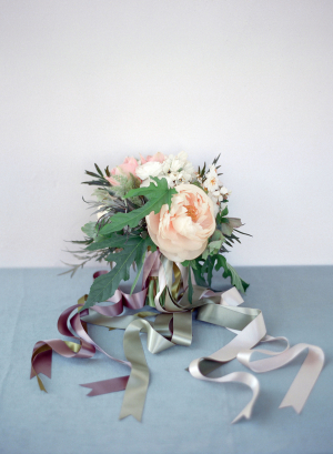 Bouquet with Blue and Purple Ribbons