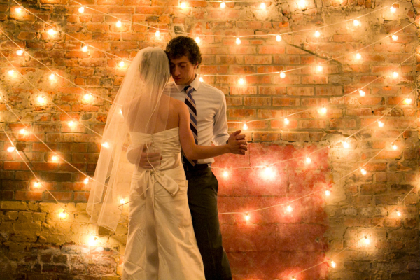 Bride and Groom String Light Background