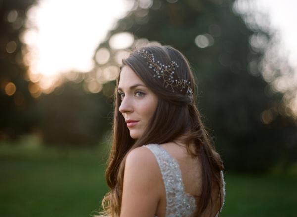 Bride in Delicate Headpiece