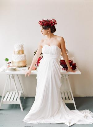 Bride in Holly Wreath Headpiece