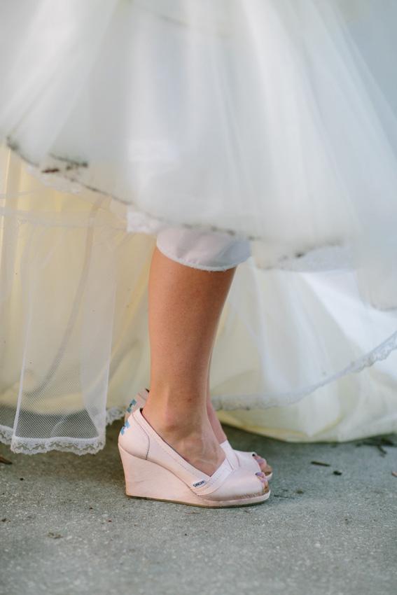 Bride in Pink Toms Wedges - Modern Style Wedding Dresses