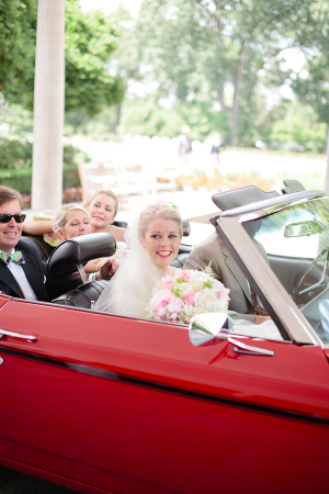 Bride in Red Convertible