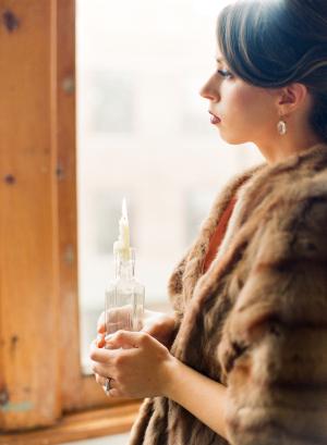 Bride in Vintage Fur Wrap