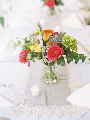 Bright Flowers in Mason Jar