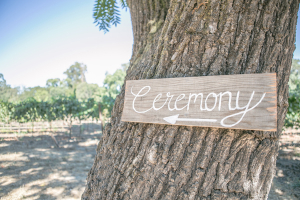 Ceremony Sign on Wood