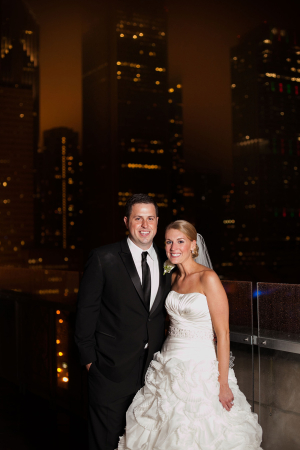 Chicago Skyline Night Wedding Portrait