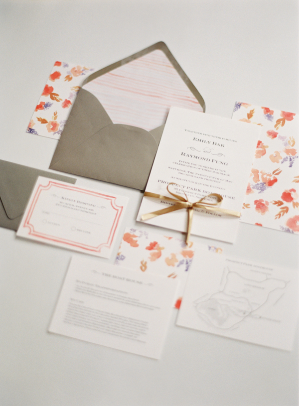 Coral and Purple Wedding Stationery Suite