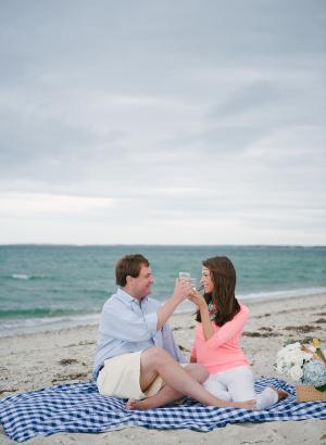 Couple Toasting on Beach