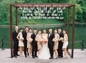 Cream and Gold Bridesmaids Dresses