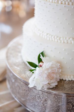 Dots on White Wedding Cake