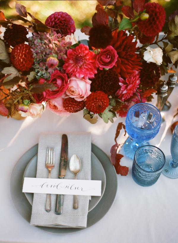 Elegant Blue and Red Autumn Wedding