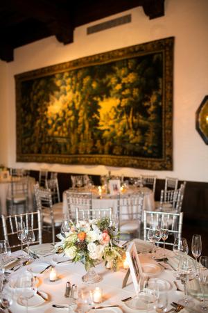 Elegant Peach Cream and Green Reception Decor