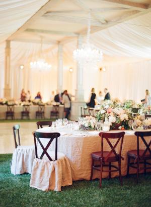 Elegant Peach Reception Table