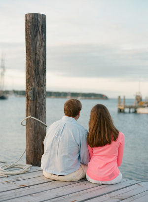 Engaged Couple on Dock