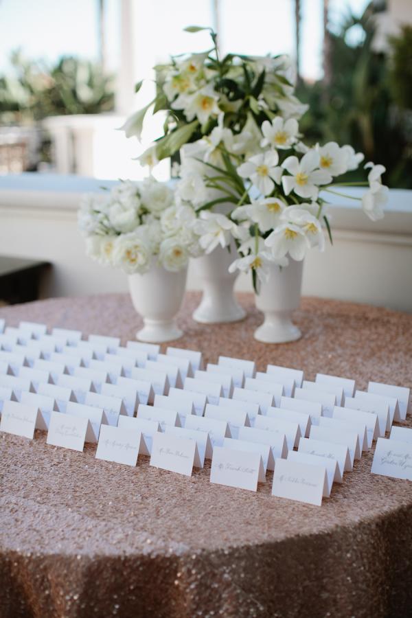 Escort Cards on Glittery Tablecloth