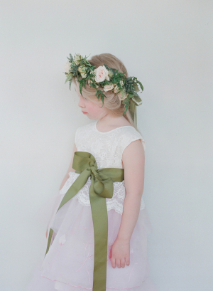 Flower Girl with Green Sash