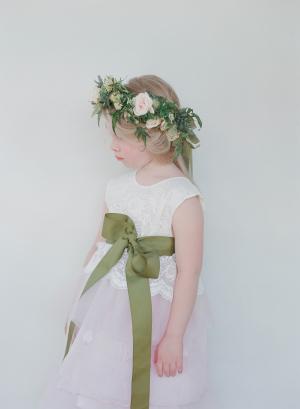 Flower Girl with Green Sash