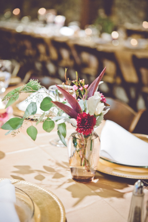 Flowers in Bud Vases Reception Decor