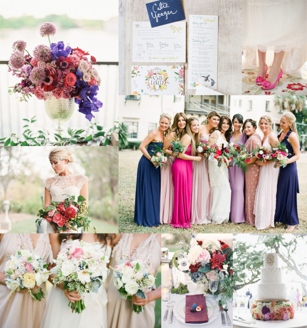 Fuchsia Navy Lavender Wedding-Colors
