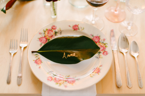 Gold Calligraphy Leaf Place Card