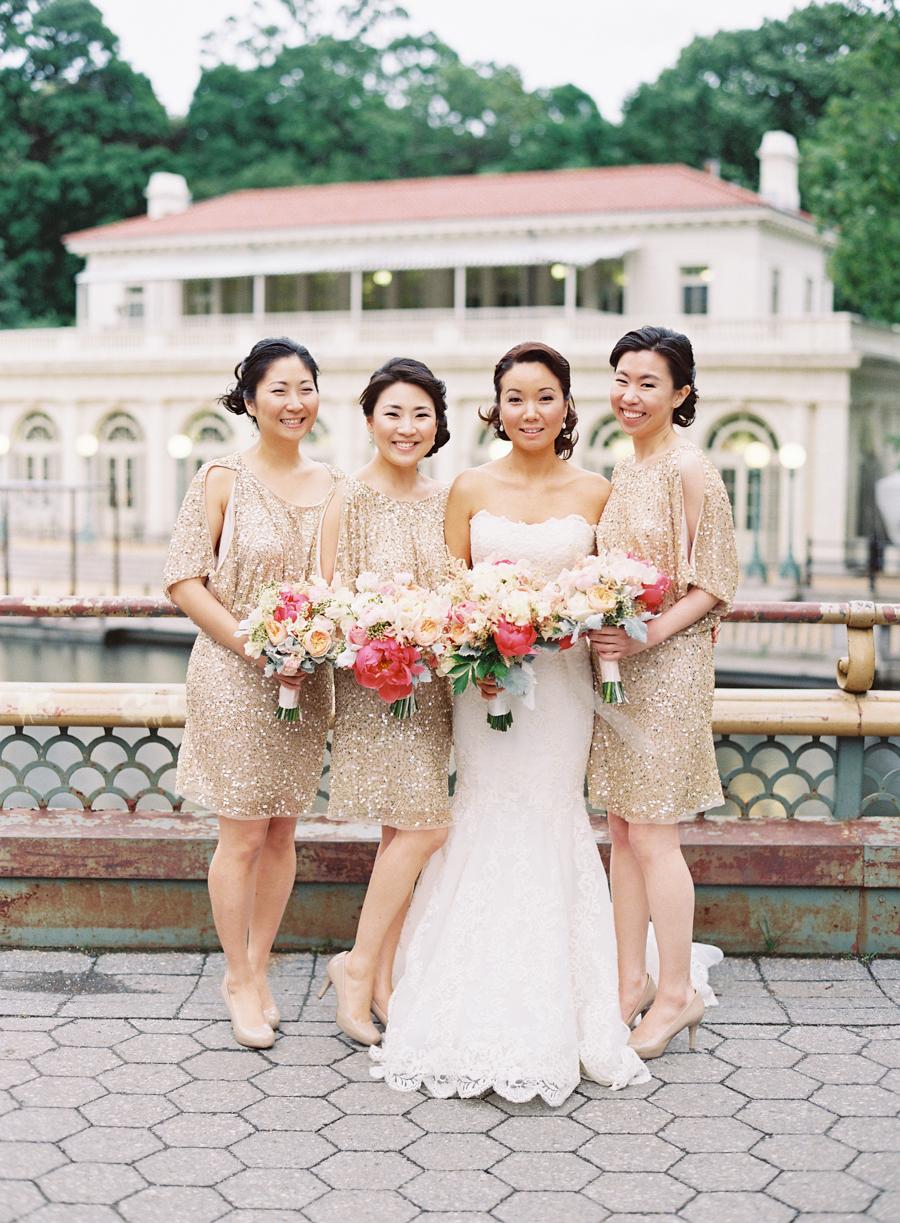 Gold sequin bridesmaids dresses elizabeth anne designs for Metallic bridesmaid dresses wedding