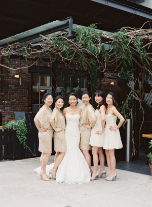 Gold and White Bridesmaids Dresses