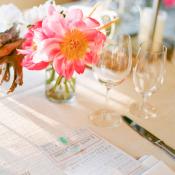 Gray and Coral Wedding Menu
