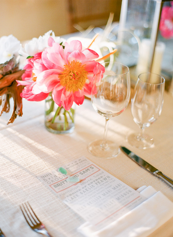 Gray and Coral Wedding Menu