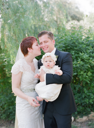 Groom and Bride with Baby