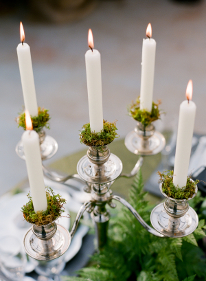 Mossy Taper Candles