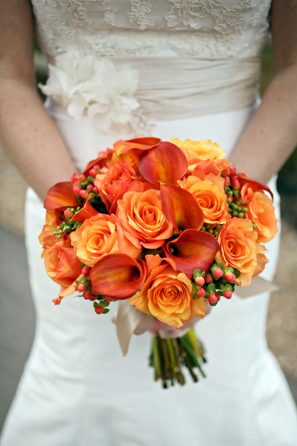 Orange Calla Lily and Rose Bouquet