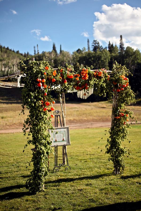 Orange and Green Wedding Arch