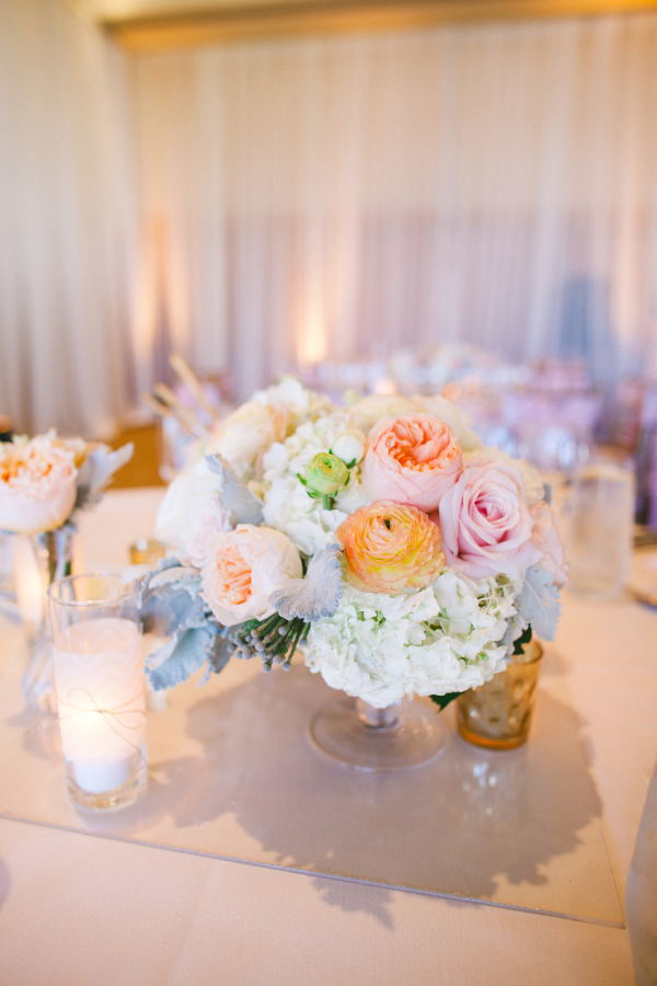 Pastel Floral Centerpiece With Dusty Miller