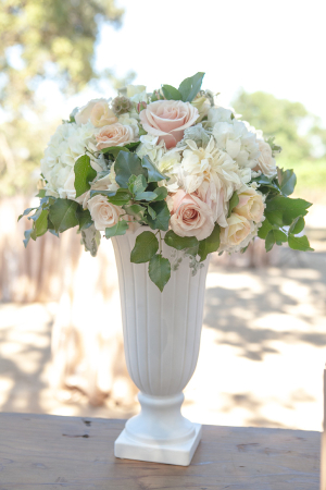 Peach Ivory Flowers in Tall White Vase