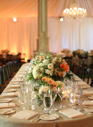 Peach and Ivory Reception Table