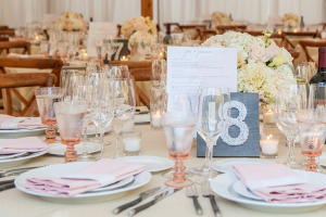 Peach and White Wedding Reception