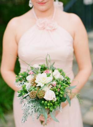 Pink Bridesmaids Dress Green Bouquet