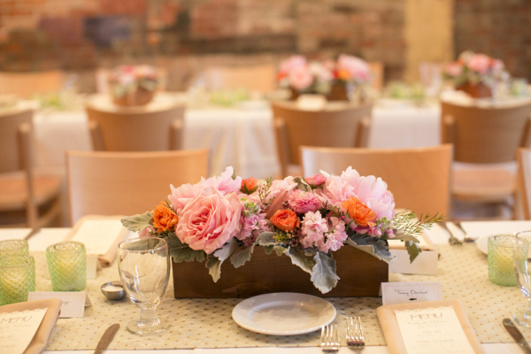 Pink Flowers Wooden Box Centerpiece Elizabeth Anne