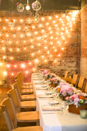 Pink Reception with String Lights