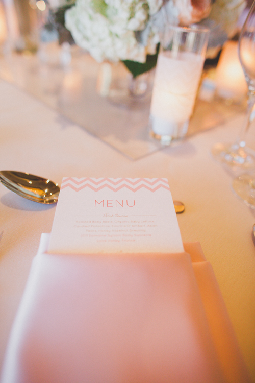 Pink and White Chevron Reception Menu