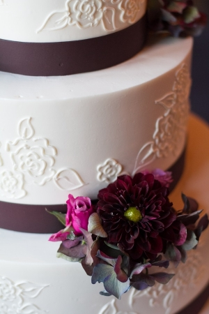 Purple Flowers on Wedding Cake