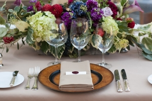 Purple Green Rustic Place Setting