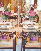 Purple, Green, and Cream Reception Decor