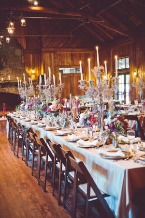 Purple Rustic Wedding Reception