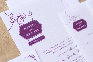 Purple White Wedding Invitations
