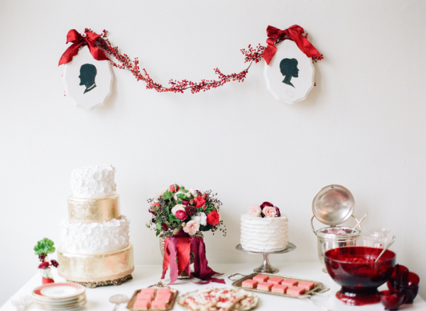 Red Gold White Dessert Table